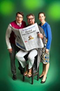 Timo Doleys, Caroline Lux und Stefan Martin Mueller bestreiten den Abend von »Gemeinsam lachen« und der Stadt Melsungen. Foto: Marcus Lieberenz | bildbuehne.de