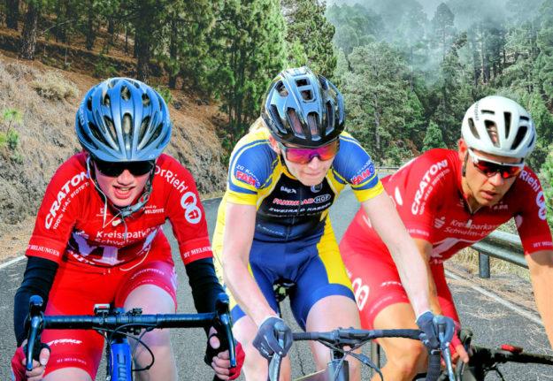 Spannende Titelkämpfe lieferten die Radsportler im Bergzeitfahren (v.li.): Joshua Sandrock, Jasmin Corso und Philipp Sohn. Montage: Schmidtkunz / Fotos: Schormann; MT Melsungen; noelsch | Pixabay