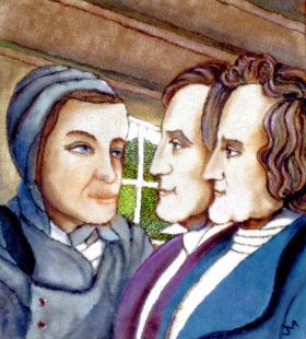 Der Märchenerzählerin Dorothee Viehmann (li.) und den Märchensammlern Jakob und Wilhelm Grimm hat Josef Mertin ein Teppichmosaik gewidmet. Archivbild: Winkelhöfer