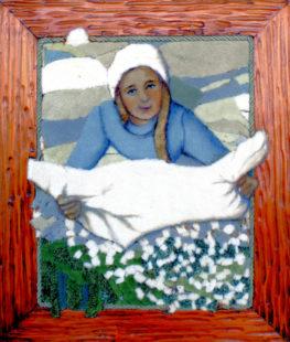 Auf einem weiteren Teppichmosaik schüttelt Frau Holle die Kissen aus. Der Bilderrahmen wird in die Gestaltung des Mosaiks einbezogArchivbild: Winkelhöfer