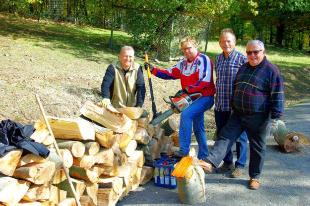In kleinem Umfang gehörte sogar das Holzzurichten und -rücken zur Arbeit am Umwelttag im Wildpark Knüll. Foto: LC Homberg