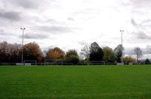 Insgesamt vier Flutlichtmasten beleuchten künftig das Gudensberger Weinbergstadion. Foto: nh
