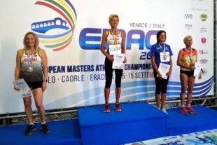 Jutta Pfannkuche aus Melsungen holte sich nach WM-Gold nun auch die Europameisterschaft im Hochsprung der W60. Foto: nh