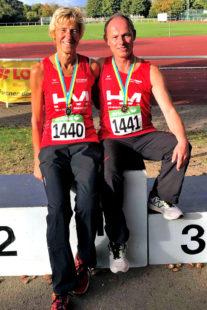Jutta Pfannkuche und Bernd Gabel holten sich die Mehrkampftitel bei den süddeutschen Meisterschaften. Foto: nh