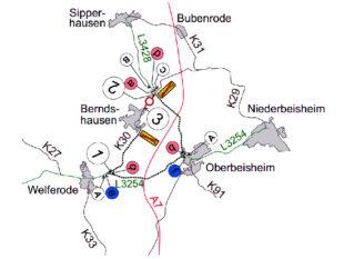Umleitungsplan K 30 Berndshausen. Skizze: Hessen Mobil