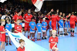 Aufnahme vom Heimspiel der MT Melsungen im EHF Cup gegen Olympiacos Piräus am 16.11.19 in Kassel. Foto: Heinz Hartung