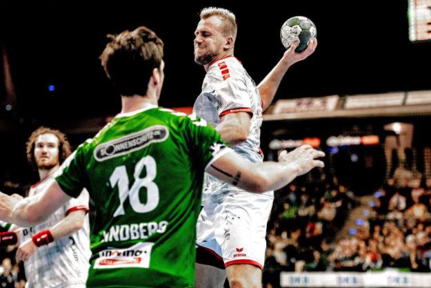 Auch Julius Kühn war für die MT Melsungen im Bundesliga-Auswärtsspiel bei den Füchsen Berlin (28.11.19) dieses Mal keine Trumpfkarte. Foto: Alibek Käsler
