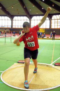 Luis André holte sich mit 15,25 m seinen 70. Sieg im Kugelstoßen in Folge und bleibt bundesweit ungeschlagen. Foto: nh