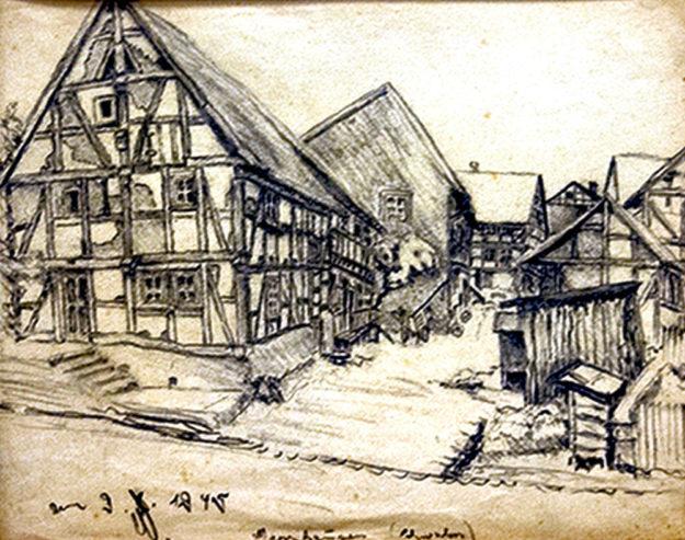 Das Schwalmdorf Merzhausen wie es Wilhelm Weber-Gaul 1945 gesehen hat. Foto: Paul Dippel