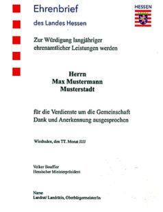 So sieht er aus, der Ehrenbrief des Landes Hessen. Quelle: Staatskanzlei