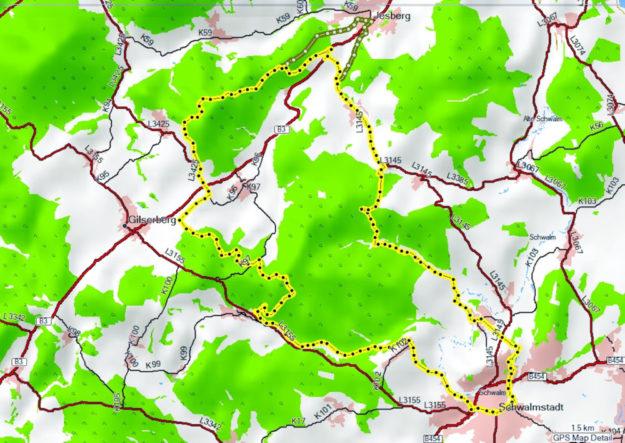 Die geplante Schwalmradtour in der Kartenübersicht. Repro: ADFC