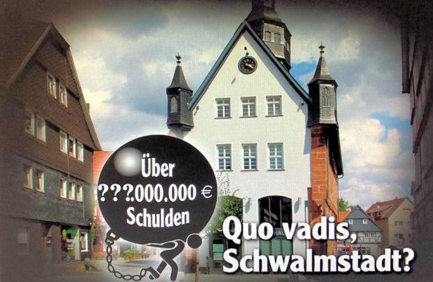 Bürgermeister Stefan Pinhard weist die von der FWG behauptete Höhe der Schwalmstädter Schuldenlast zurück. Nun stehen Fragezeichen vor der Millionensumme. Die Redaktion hat die ursprüngliche Grafik der FREIEN WÄHLER angepasst.
