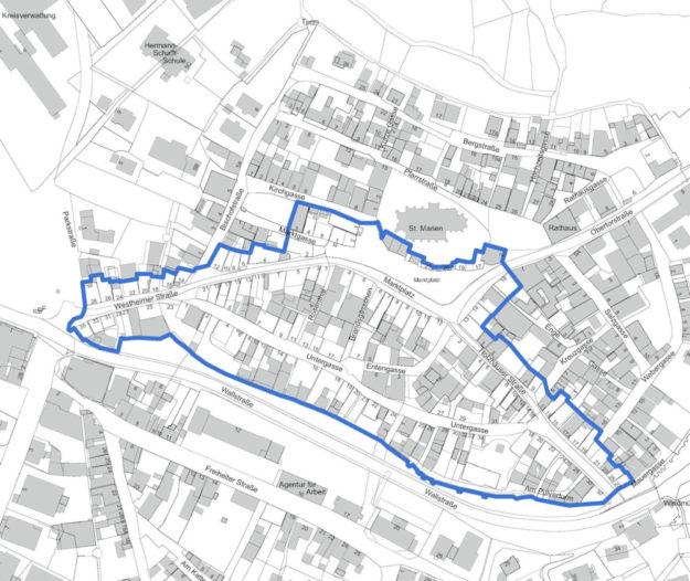 Das Fördergebiet Lokale Ökonomie Altstadt Homberg. Repro: nh