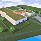 Die Skizze zeigt die geplante multifunktionale Einrichtung in Gudensberg-Maden. Der vordere Gebäudeteil wird für die Kinderbetreuung errichtet. Grafik: Architekturbüro Gerlach