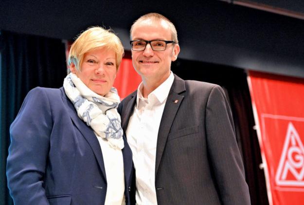 Elke Volkmann und Oliver Dietzel wurden in ihren Spitzenämtern bei der IG Metall bestätigt. Foto: Uwe Zucchi/GNHAG