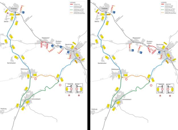 Die Umleitungsstrecken sind für jede Richtung eingerichtet. Quelle: Schwalm-Eder-Kreis