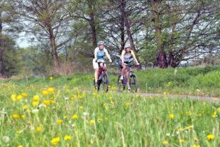 Radlerinnen auf dem Bahnradweg im Rotkäppchenland. Foto: Florian Emberger | nh