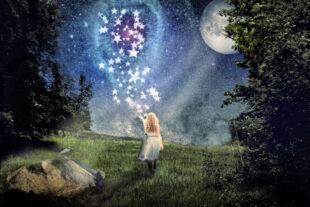 Das Sterntaler-Märchen in einer Illustration. Quelle: Ulrich B.   Pixabay