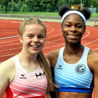 Vivian Groppe und Holly Okuku (v.li.) sind viel versprechende Sprinttalente. Foto: nh