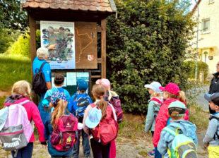 An der Wanderkarte wurde erstmal die Lage gecheckt, anschließend ging es auf den Naturlehrpfad bei Merzhausen. Foto: nh