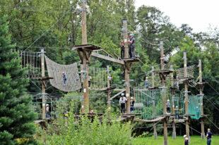 Das Klettern im Hochseilpark am Silbersee förderte den Zusammenhalt der Teilnehmer*innen; und viel Spaß hat es auch gemacht. Foto: Maria Nohl