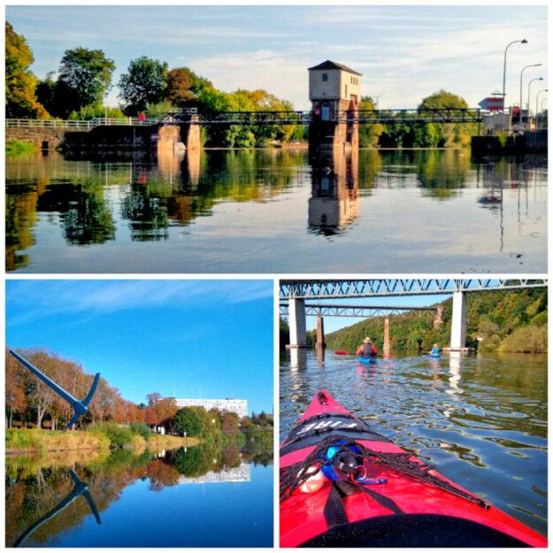Mangels ausreichend Pegel in den eigenen Gewässern machten sich die Kanuten vom TuSpo Borken für einen würdigen Saisonabschluss auf nach Kassel. Collage: TuSpo Borken