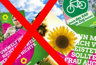 Auf die Masse kleiner Sach- und Kopfplakate werden die Grünen diesmal verzichten. Gefragt sind nun professionelle Wesselmänner. Collage: gsk