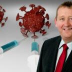 SPD-Kreischef Günter Rudolph fordert den gleichzeitigen Start der Impfungen in den hessischen Impfzentren. Fotomontage: gsk