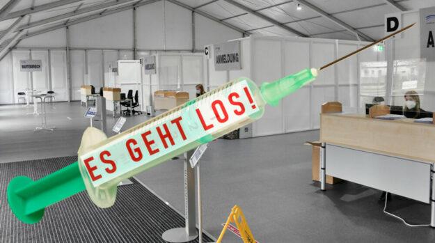 """Morgen beginnen die Impfungen im Fritzlarer Zentrum … allerdings vorerst nur auf """"Sparflamme"""". Foto: Klagholz / Montage: Schmidtkunz"""