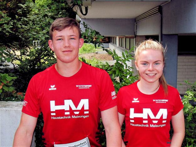 Vivian Groppe und Luis André sicherten sich vier Siege beim 20. Stadionsportfest in Mörfelden Walldorf. Foto: nh