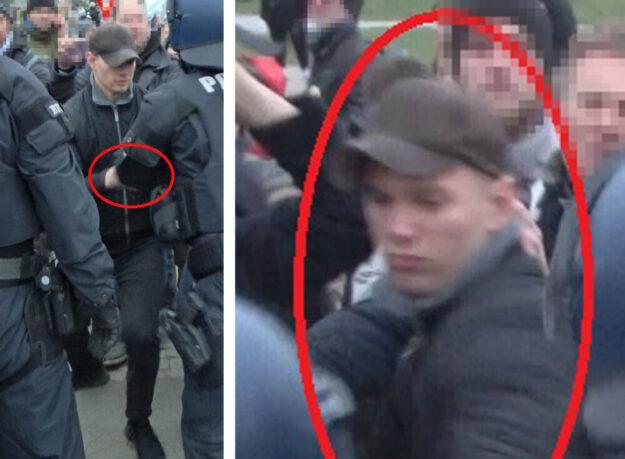 Fotos des Tatverdächtigen eines tätlichen Angriffs auf Bundespolizisten während einer Demonstration am 20. März 2021 auf dem Kasseler Friedrichsplatz. Die Polizei bittet um Hinweise. Foto: nh
