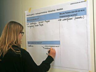 Moderatorin Elena Hansjürgens notiert die Diskussionsbeiträge auf einem Flip-Chart. Foto: Jörg Döringer