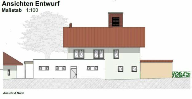 Nord-Ansicht des Anbaus Feuerwehrhaus Obervorschütz. Grafik: Architekturbüro Gerlach