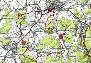 Die Route der geführten Radtour. Start- und Zielpunkt ist die Kreisstadt Homberg (Efze). Quelle: ADFC