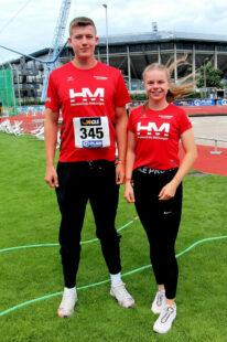 Luis Andre und Vivian Groppe vor den deutschen Meisterschaften im Stadion von Rostock. Foto: nh