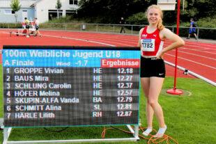 Vivian Groppe, zum ersten Mal auch süddeutsche Meisterin über 100 Meter. Foto: nh